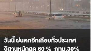 วันนี้ฝนตกอีกเกือบทั่วประเทศ อีสานหนักสุด 60% กทม. 30%
