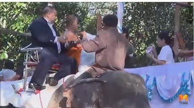 สงกรานต์อ.พิปูนจัดยิ่งใหญ่ตักบาตรบนหลังช้างอุทิศส่วนกุศลให้หมู่ญาติที่ล่วงลับ