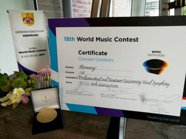 วง KU Wind และวง Nontri Orchestra Wind โดยนิสิตเกษตร คว้าเหรียญทองการประกวดดนตรีโลกครั้งที่ 18