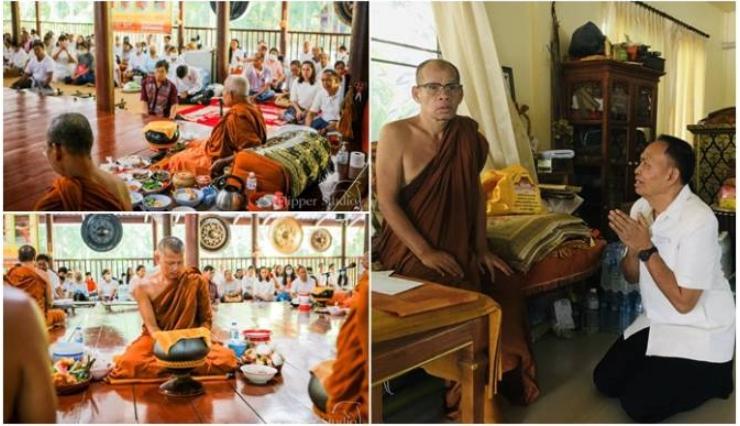 """""""เกรียงศักดิ์""""ส.ส.อุดรธานีนำชาวบ้านถวายไทยทานแก่หลวงปู่เสนประสบภัยโควิด"""