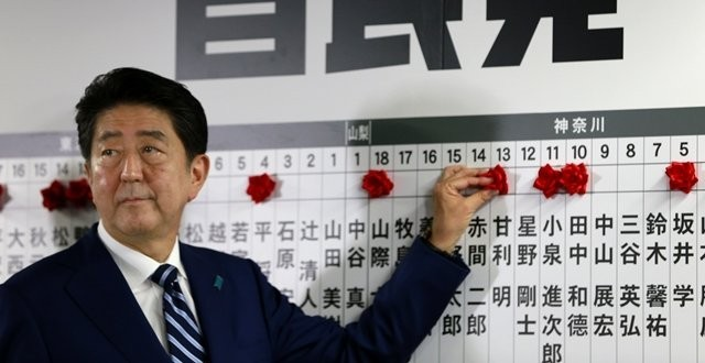 ผลสำรวจเอ็กซิตโพลการเลือกตั้งของญี่ปุ่นเมื่อวานนี้ ปรากฎว่า อาเบะ ชนะขาดลอย