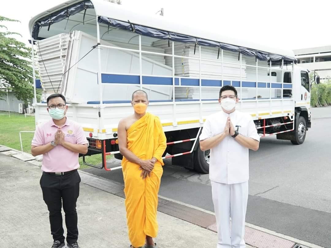 วัดพระธรรมกาย สนับสนุนอุปกรณ์จัดตั้ง รพ.สนาม วิทยาลัยการอาชีวศึกษาปทุมธานี